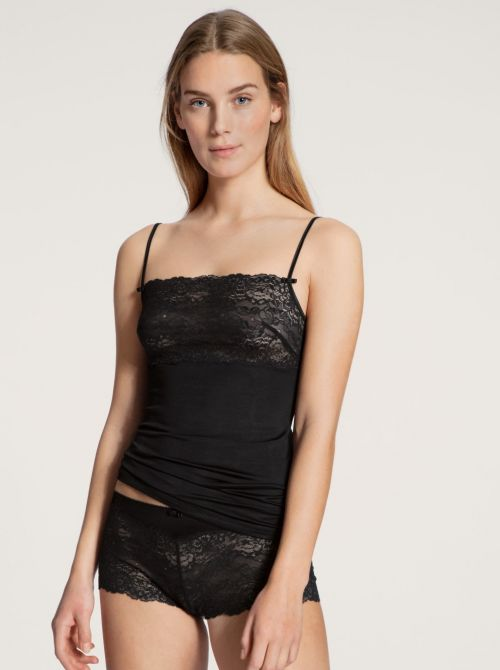 11531 Sweet Secrets top con pizzo, nero CALIDA