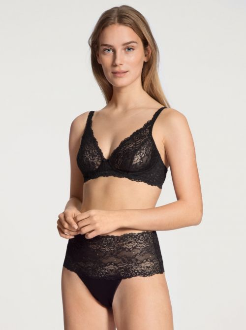 21431 Sweet Secrets slip alto con pizzo, nero CALIDA