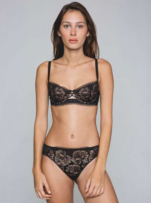 Dot Flowers Push-up bra, black MAISONLEJABY