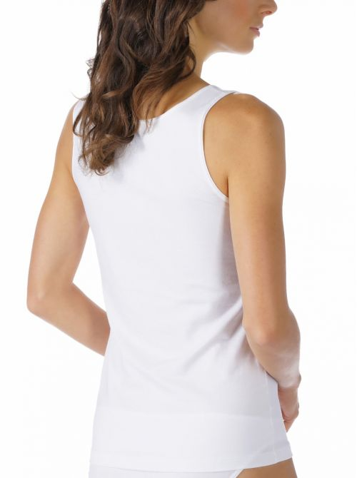 Cotton Pure Top con spalline larghe, bianco MEY