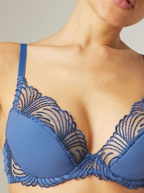 Nuance 12N347 Reggiseno push-up a triangolo, blu denim SIMONE PERELE